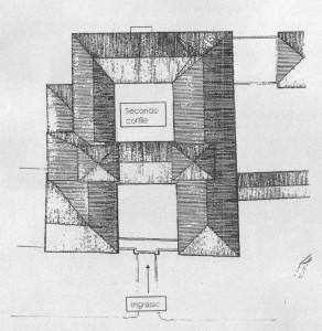 Planimetria del Castello, con riferimento all'ingresso costituito anticamente dal ponte levatoio, e dal secondo cortile, quello più antico della struttura.