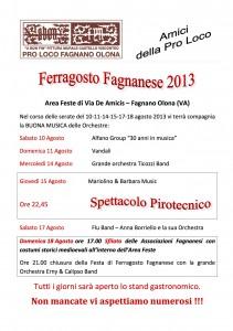 Programma del Ferragosto Fagnanese 2013