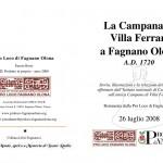Richiedi il libretto: La campana di Villa Ferrari a Fagnano Olona - A.D. 1720